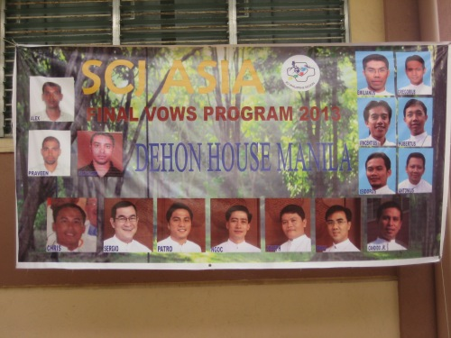 A banner celebrates the members of the 2013 final vows program in the Philippines
