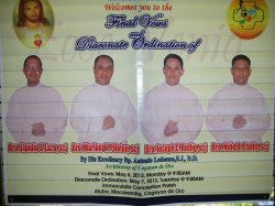 A banner outside the church celebrates the SCJs ordained to the diaconate