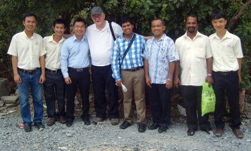 Fr. Bernie (in hat) with other SCJs in Vietnam