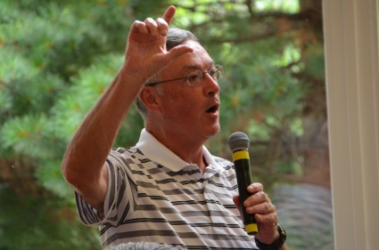 Fr. Tom speaking during a recent gathering. After completing his second term as provincial superior he began a sabbatical that is taking him to several of the places for which he had responsibility when he was on General Council.