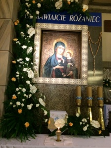 "The church next to the newly remodeled conference center has a shrine to Mary:  ""Blogostawionego Macieraynstwa"" according to Fr. Tom."