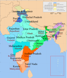 India langauge map