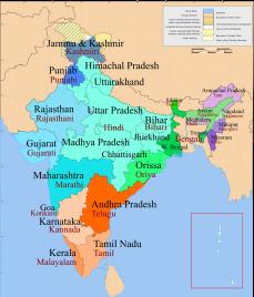 India langauge map