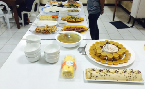 A buffet of Asian dining at the cultural fair in the Philippines