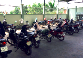 Motorbikes are the main method of transportation