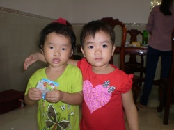 Dn. Phu's niece (in red) and a friend