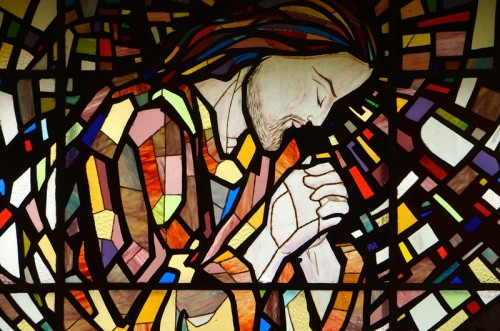 The stained glass window behind the altar at the novitiate chapel in India.