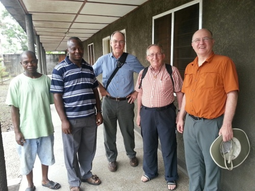 Fr. Charles Brown (middle, with blue shirt), Fr. Claude Bédard (member of the Canadian Region) and Fr Stephen Huffstetter with Congolese confreres.