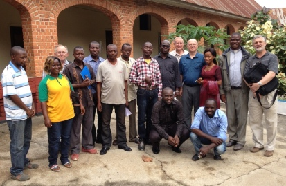 """Fr. Charles Brown shared the photo above of SCJs with diocesan radio and television personnel in Congo. The US Province helps to financially support the broadcast center whose task is """"evangelization and social development."""" Fr. Steve was interviewed on television during his visit."""
