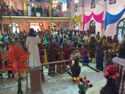 Parishioners celebrate the one-year anniversary of Sacred Heart Church in Nambur.