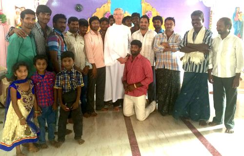 "Fr. Tom with the Dehonian Youth Group in Vempadu.  ""On my right is the local village council,"" writes Fr. Tom. ""It consists of members of the three major faiths: Hindu, Muslim and Catholic."