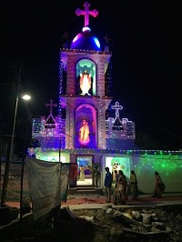 The church was lighted for the celebration