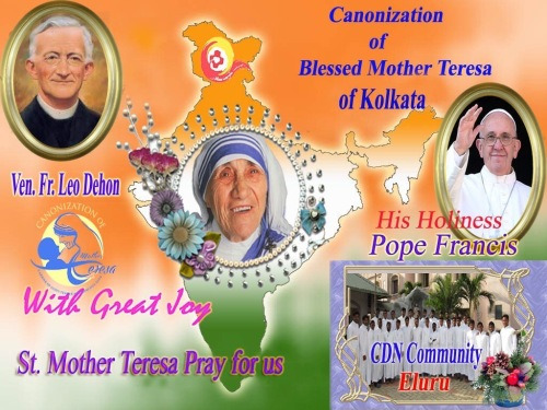 The banner designed by Br. Hari Kumar Barigala, SCJ, for the celebration of Mother Teresa's canonization
