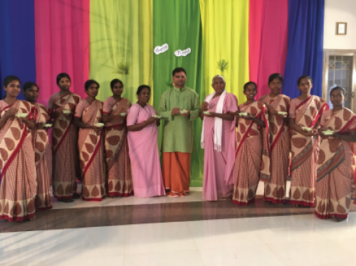 Fr. Michael with members of the Franciscan Sisters of Aloysius Gonzaga during the Pongal celebrations